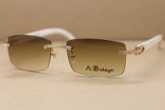 Cartier Wholesale Gold 8200757 Men White Buffalo Genuine horn Sunglasses Rimless Samll Diamond Glasses