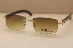 Cartier New Rimless Gold 8200757 or Silver 8200758 Big diamond Glasses Men Black Buffalo Genuine horn Sun glasses