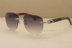 Cartier Rimless Samll Diamond Sunglasses T8300680 Original peacock Wood Sunglasses in Gold Brown Lens