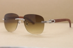 Cartier Rimless Samll Diamond Sunglasses T8300680 Original Wood Sunglasses in Gold Brown Lens