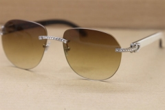 Cartier Rimless  Samll Diamond Sunglasses T8300729 Original Black Mix White Buffalo Horn Sunglasses in Gold Brown Lens