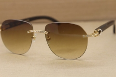 Cartier Rimless  Samll Diamond Sunglasses T8300729 Original Black Buffalo Horn Sunglasses in Gold Brown Lens