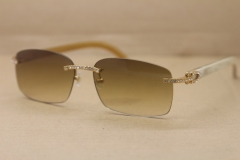 Hot Cartier Rimless 8200759 White Buffalo Horn Sunglasses Men Samll diamond Glasses luxury Brand Glasses