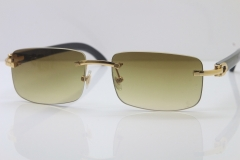 Cartier CT 8200757 Men famous brand Original Black Genuine Buffalo horn 8200758 Rimless Sunglasses