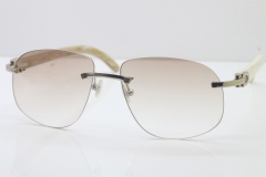 0ae44c3dd5 Wholesale High-end brand Cartier T8100928 Rimless Original White Buffalo  Horn Sunglasses in 18K Gold