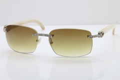 Cartier Rimless Smaller Big Stones T8200497 White Buffalo Horn Sunglasses in Silver Brown Lens