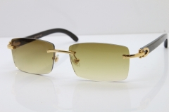 Cartier Rimless 8200757 Original Black Mix Gray Buffalo Horn Sunglasses in Gold Brown Lens