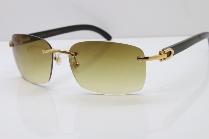 45e6c6ecef5 Product Name Cartier Rimless 8200497 Original Black Mix Gray Buffalo Horn  Sunglasses in Gold Brown Lens Limited edition