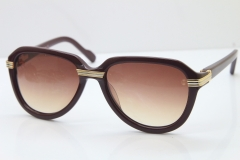 Cartier 1991 Vintage 1136125 Original Sunglasses In Wine Mix Gold Brown Lens