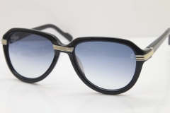 Cartier 1991 Vintage 1136125 Original Sunglasses In Black Mix Silver Gray Lens