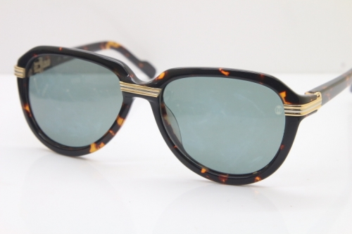 Cartier 1991 Vintage 1136125 Original Sunglasses In Tortoise Mix Gold Dark Lens