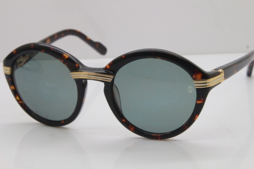 Cartier 1991 Vintage 1125108 Original Sunglasses In Tortoise Mix Gold Dark Lens