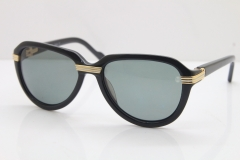Cartier 1991 Vintage 1136125 Original Sunglasses In Black Mix Gold Dark Lens