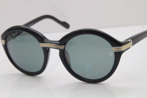 Cartier 1991 Vintage 1125108 Original Sunglasses In Black Mix Silver Dark Lens