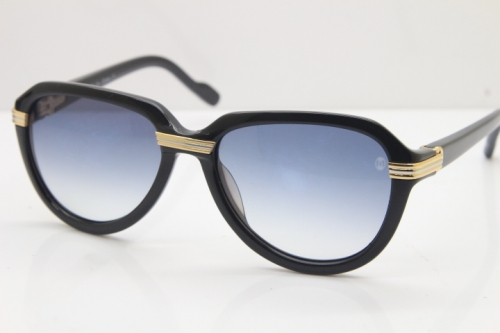 Cartier 1991 Vintage 1136125 Original Sunglasses In Black Mix Gold Gray Lens