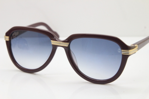 Cartier 1991 Vintage 1136125 Original Sunglasses In Wine Mix Gold Gray Lens