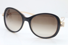 Cartier Leopard Ca5128 Diamond Sunglasses In Brown Mix Gold Brown Lens
