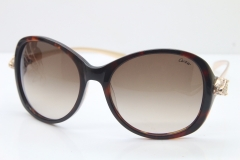 Cartier Leopard Ca5128 Diamond Sunglasses In Torotise Mix Gold Brown Lens