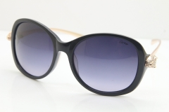 Cartier Leopard Ca5128 Diamond Sunglasses In Black Mix Gold Gray Lens