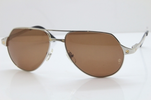 CARTIER EDITION Limited Santos Dumont 3592550 Sunglasses In Silver Brown Lens