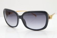 Cartier Leopard 1304 Diamond Sunglasses In Black Mix Gold Gray Lens