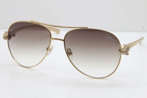 Cartier Leopard T8200666S Diamond Sunglasses In Gold Brown Len