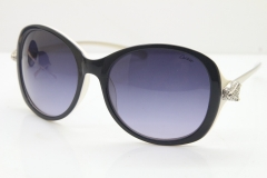 Cartier Leopard Ca5128 Diamond Sunglasses In Black Mix White Mix Gold Gray Lens