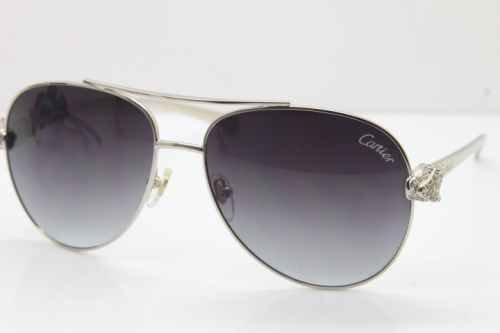 Cartier Leopard T8200666S Diamond Sunglasses In Silver Gray Lens