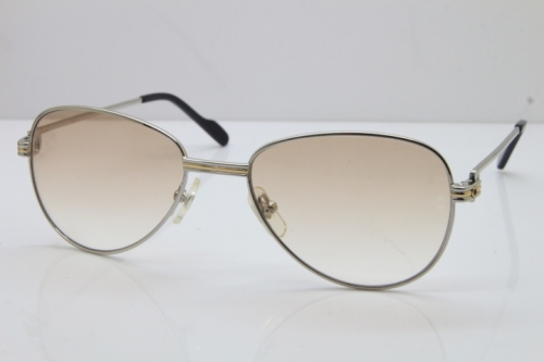 Cartier 1156479 Original Sunglasses In Silver Brown Lens