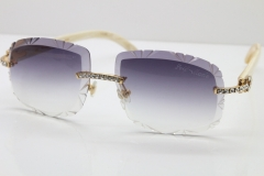 Cartier Rimless Big Stones White Genuine Natural T8200762 Sunglasses In Gold Gray Lens(Carved Lens)