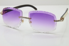 Cartier Rimless Big Stones White Inside Black Buffalo T8200762 Sunglasses In Gold Purple Lens(Carved Lens)