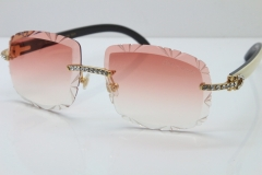 Cartier Rimless Big Stones White Inside Black Buffalo T8200762 Sunglasses In Gold Pink Lens(Carved Lens)