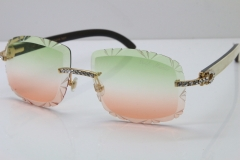 Cartier Rimless Big Stones White Inside Black Buffalo T8200762 Sunglasses In Gold Green Mix Brown Lens(Carved Lens)