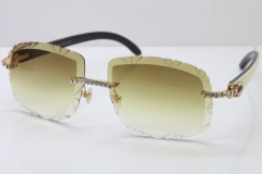 Cartier Rimless Big Stones White Inside Black Buffalo T8200762 Sunglasses In Gold Brown Lens(Carved Lens)