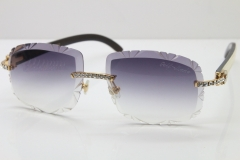 Cartier Rimless Big Stones White Inside Black Buffalo T8200762 Sunglasses In Gold Gray Lens(Carved Lens)