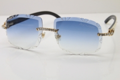 Cartier Rimless Big Stones White Inside Black Buffalo T8200762 Sunglasses In Gold Blue Lens(Carved Lens)