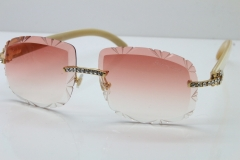 Cartier Rimless Big Stones White Genuine Natural T8200762 Sunglasses In Gold Pink Lens(Carved Lens)