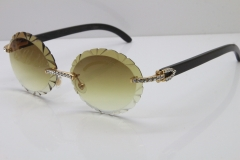 Cartier Black Buffalo Horn T8200761 Big Stones Original Rimless Sunglasses In Silver Brown Carved Lens
