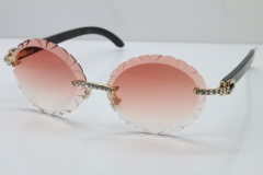 Cartier Black Buffalo Horn T8200761 Big Stones Original Rimless Sunglasses In Silver Pink Carved Lens