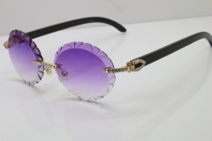 Cartier Black Buffalo Horn T8200761 Big Stones Original Rimless Sunglasses In Silver Purple Carved Lens