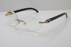Cartier Black Buffalo Horn T8200761 Big Stones Original Rimless Eyeglasses In Silver Carved Lens