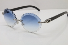 Cartier Black Buffalo Horn T8200761 Big Stones Original Rimless Sunglasses In Silver Blue Carved Lens