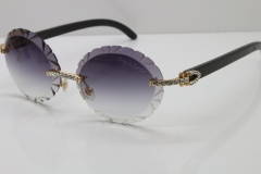 Cartier Black Buffalo Horn T8200761 Big Stones Original Rimless Sunglasses In Silver Gray Carved Lens