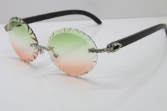 Cartier Big Stones Original Black Buffalo Horn T8200761 Rimless Sunglasses In Silver Green Mix Brown Carved Lens
