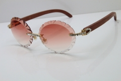 Cartier Big Stones Original Wood T8200761 Rimless Sunglasses In Gold Pink Carved Len