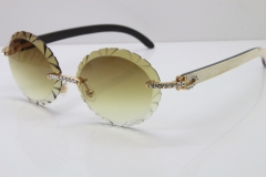 Cartier Big Stones  White Inside Black Buffalo Horn T8200761 Rimless Sunglasses In Gold Brown Carved Lens