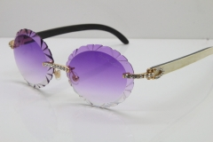 Cartier Big Stones  White Inside Black Buffalo Horn T8200761 Rimless Sunglasses In Silver Purple Carved Lens