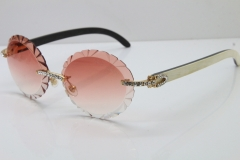 Cartier Big Stones  White Inside Black Buffalo Horn T8200761 Rimless Sunglasses In Silver Pink Carved Lens