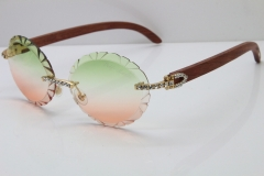 Cartier Big Stones Original Wood T8200761 Rimless Sunglasses In Gold Green Mix Brown Carved Lens