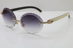 Cartier Big Stones  White Inside Black Buffalo Horn T8200761 Rimless Sunglasses In Silver Gray Carved Lens
